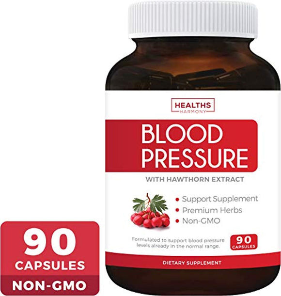 Best Blood Pressure Support Supplement (Non-GMO) - Premium Natural Herbs, Vitamins & Berries - High Dosage of Hawthorn Extract - 90 caps