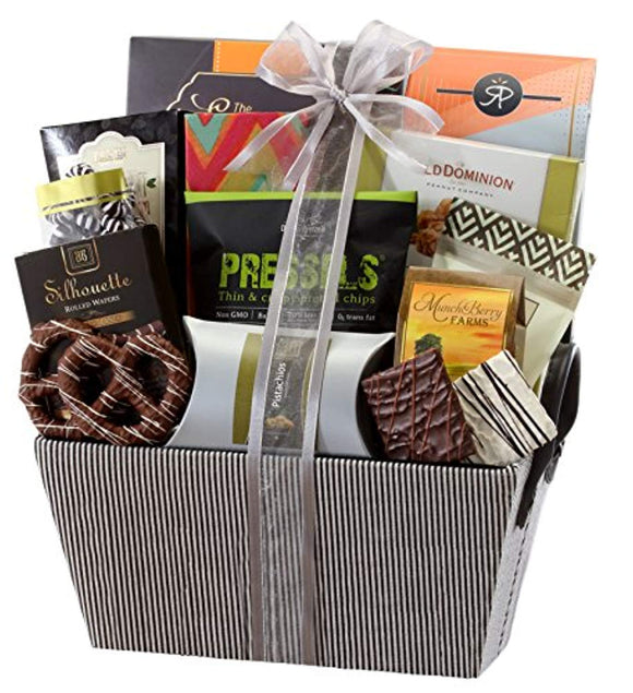 Sweet and Savory Gift Basket with Chocolates, Seasoned Nuts, Brittle, Pastries, Assorted Sweets & Snacks