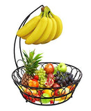 ESYLIFE Wire Fruit Basket with Banana Hanger, Black