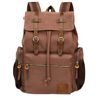 Wowbox 15.6 Inch Laptop Canvas Backpack Unisex Vintage Leather Casual Rucksack School College Bags Satchel Travel Rucksack Business Daypack for Men and Women(Coffee)