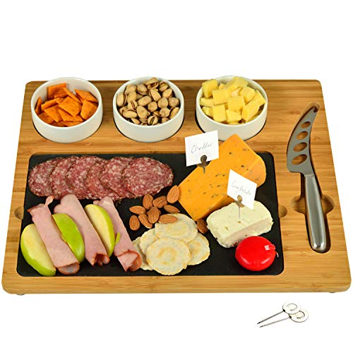 "Picnic at Ascot Bamboo & Slate Cheese Board, 3 Ceramic Bowls & Cheese Knife & Cheese Markers - 15"" x 13"" - Designed & Quality Checked in the USA"
