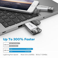 HooToo 32GB iPhone iPad Flash Drive USB 3.0 Memory Stick with Apple MFi Certificated Connector Compatible iPod iOS Windows Mac