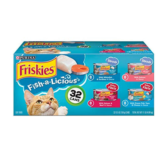 Purina Friskies Wet Cat Food Variety Pack, Fish-A-Licious Shreds, Prime Filets & Tasty Treasures