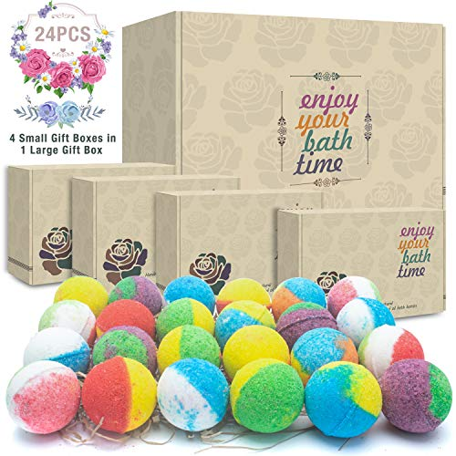 24 Organic & Natural Bath Bombs, Handmade Bubble Bath Bomb Gift Set, Rich in Essential Oil, Shea Butter, Coconut Oil, Grape Seed Oil