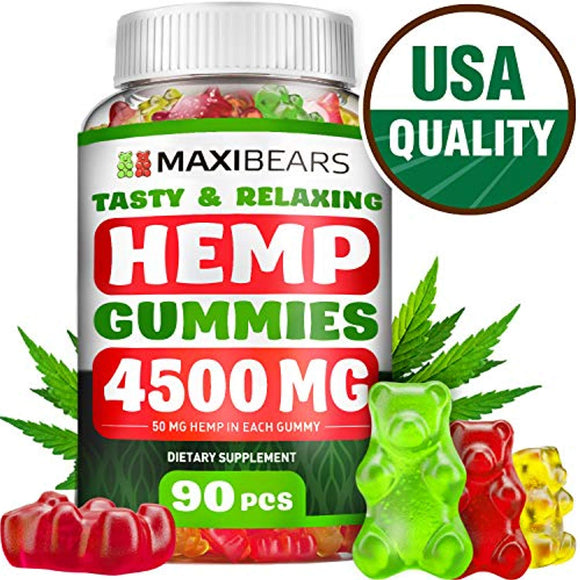 Omega 3, 6 & 9 Gummies for Stress Relief – 50 MG per Gummy, 90 count – Pain, Insomnia & Anxiety Management – Made in USA