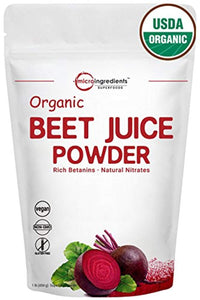 Organic Beet Root Juice Powder 1 Pound, Natural Nitrates for Energy Booster, Best Superfoods & Flavor for Beverage and Smoothie