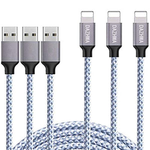 DAZHWA iPhone Charger 3PACK (6FT) Nylon Braided Charging Cable Cord USB Cable Charger