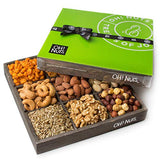 Nuts Gift Basket, 9 Variety Mixed Nut Assortment Wood Tray Baskets, Roasted Healthy Fresh Food Care Package