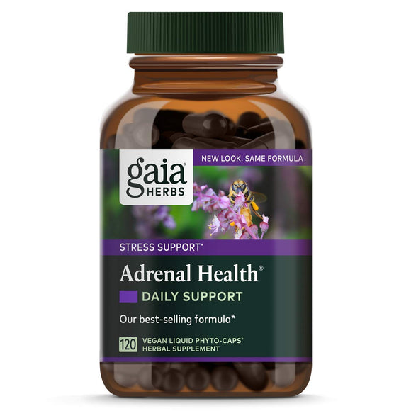 Gaia Herbs Adrenal Health Daily Support, Vegan Liquid Capsules, 120 Count - Stress Relief and Adrenal Fatigue Supplement