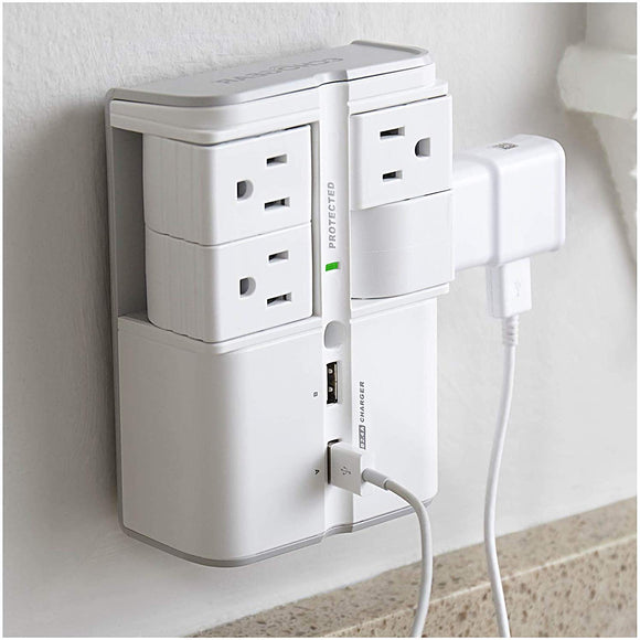 ECHOGEAR On-Wall Surge Protector with 6 Pivoting AC Outlets & 1080 Joules of Surge Protection