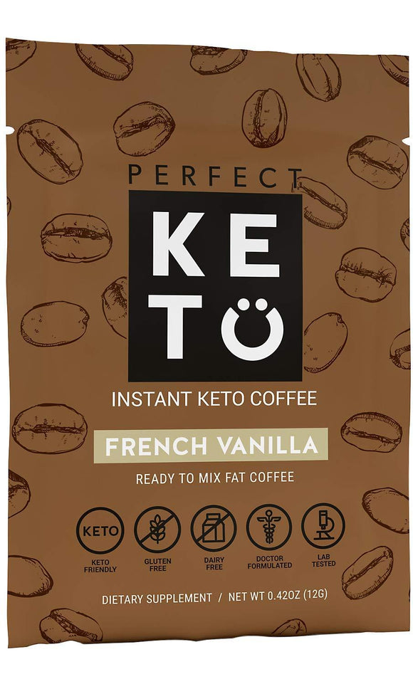 Perfect Keto Instant Coffee: Ketogenic Fat Coffee Sugar Free Cafe Latte w Coconut Oil MCT Creamer for Ketosis on Ketone Friendly Diet.