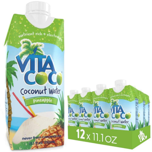 Vita Coco Coconut Water, Pineapple - Naturally Hydrating Electrolyte Drink - Smart Alternative to Coffee, Soda, and Sports Drinks - Gluten Free - 11.1 Ounce (Pack of 12)