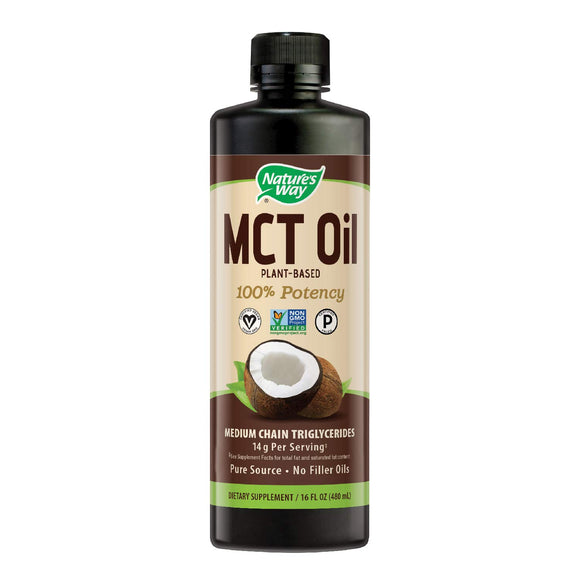 Nature's Way 100% Potency Pure Source MCT Oil from Coconut- Certified Paleo, Certified Vegan- Non-GMO Project Verified, Vegetarian
