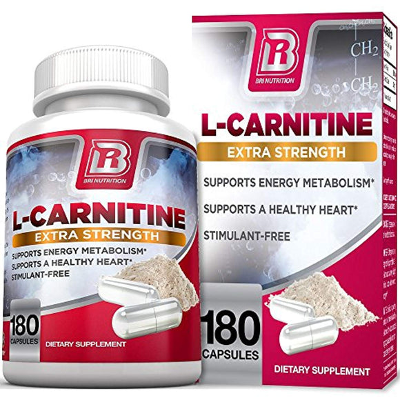 BRI L-Carnitine - 180 Tables 1000mg per Serving Premium Quality Carnitine Amino Acid Natural Fat Burner Supports Athletic Performance