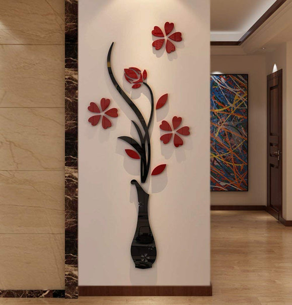 Hermione Baby 3D Vase Wall Murals for Living Room Bedroom Sofa Backdrop Tv Wall Background, (Red, 59 X 23 inches)