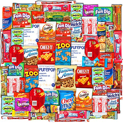 Canopy Snacks (60 Count) - Ultimate Care Package – Variety Box Gift Pack – Assortment Basket Bundle of Treats with Chips, Candy and Cookies.