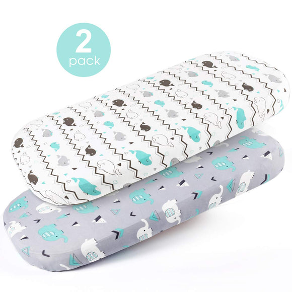 Stretchy Fitted Sheets Set-Brolex 2 Pack Portable Crib Mattress Topper for Baby Boys Girls