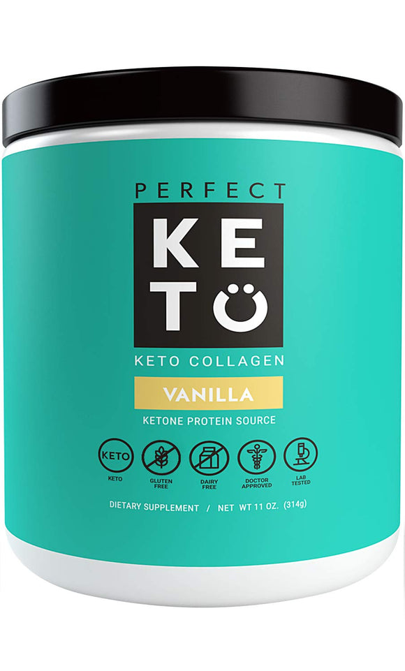 Perfect Keto Chocolate Protein Powder: Collagen Peptides Grassfed Low Carb Keto Drink Supplement with MCT Oil Powder.