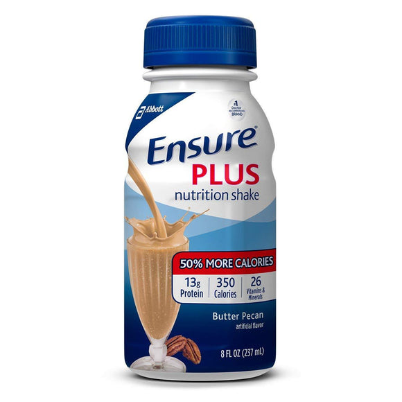 Ensure Plus Nutrition Shake with Fiber, 13g High-Quality Protein, Meal Replacement Shakes, Vanilla, 8 fl oz, 24 count