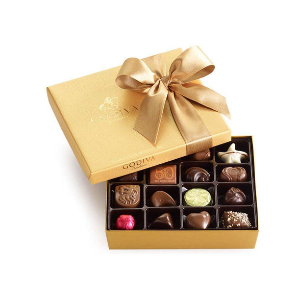 Godiva Chocolatier Classic Gold Ballotin Chocolate, Valentines Day Gift, Perfect Hostess Gift, 19 Count