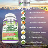 Organic Moringa 180 Capsules – 100% Pure Leaf Powder - Max 1000mg Per Serving - Complete Green Superfood Supplement - Full 3 Month Supply