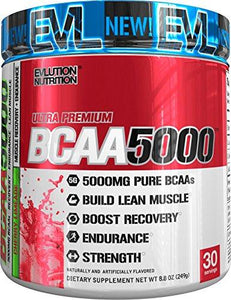 Evlution Nutrition BCAA5000 Powder 5 Grams of Premium BCAAs, Cherry Limeade, 30 Serving