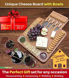 Cheese Board with Cutlery Set, Wooden Bamboo Charcuterie Platter & Serving Meat Board with Slide-Out Drawer, 4 Stainless Steel Knife and Server Set,