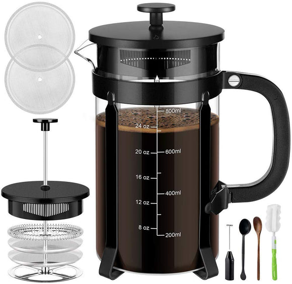 Veken French Press Coffee Maker (34 oz), 304 Stainless Steel Coffee Press with 4 Filter Screens
