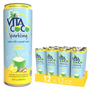 Vita Coco Sparkling Coconut Water, Lemon Ginger - Smart Alternative to Juice, Soda, and Seltzer - Gluten Free - 12 Ounce (Pack of 12)