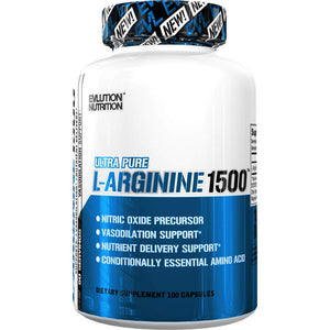 Evlution Nutrition L-Arginine 1500 mg | Ultra-Pure Nitric Oxide Supplement  100 Capsules