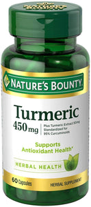 Nature's Bounty Turmeric Pills and Herbal Health Supplement 450mg, 60 Capsules