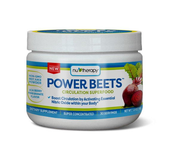 Nu-Therapy Power Beets, Super Concentrated Circulation Superfood, Delicious Acai Berry Pomegranate Flavor – Non-GMO Beet Juice Powder