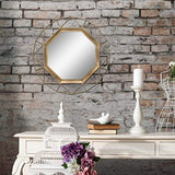 "Stonebriar Decorative Antique Gold 30"" Geometric Metal Frame Hanging Wall Mirror"