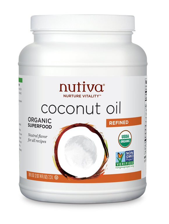 Nutiva Organic, Neutral Tasting, Steam Refined Coconut Oil from non-GMO, Sustainably Farmed Coconuts, 78 Fluid Ounce