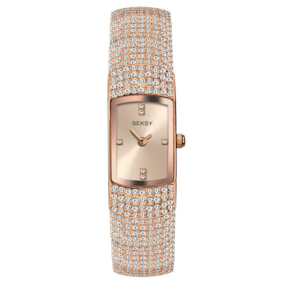 Women's Swarovski Luxury Crystal Watches, Various Styles: Black, Silver, Rose Gold, Water Resistant, Extra Clasps, Seksy Collection by Sekonda