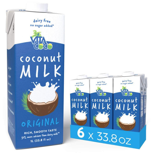 Vita Coco Coconut Milk, Unsweetened Original - Plant Based, Dairy Free Milk Alternative - - 33.8 Ounce (Pack of 6)