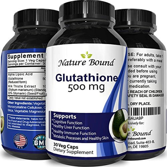 Pure Glutathione Supplement 500 mg Skin Whitening Pills Natural Antioxidant Cognitive Immune Support Liver Detox 30 Capsules