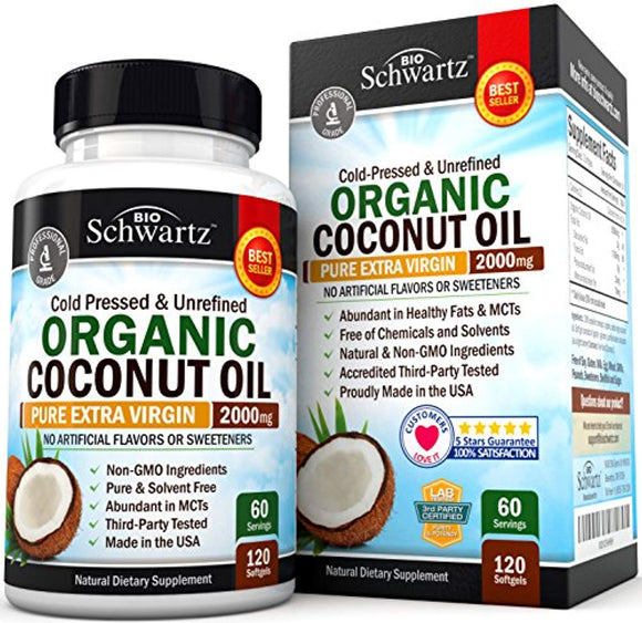 Organic Coconut Oil - Healthy Skin, Nails, Weight Loss, Hair Growth - Virgin, Cold Pressed, Unrefined Non GMO - Rich in MCT MCFA