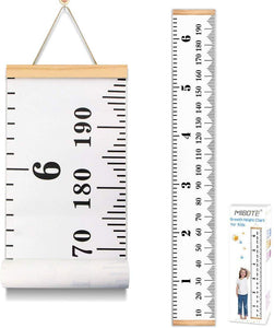 MIBOTE Baby Growth Chart Handing Ruler Wall Decor for Kids, Canvas Removable Height Growth Chart