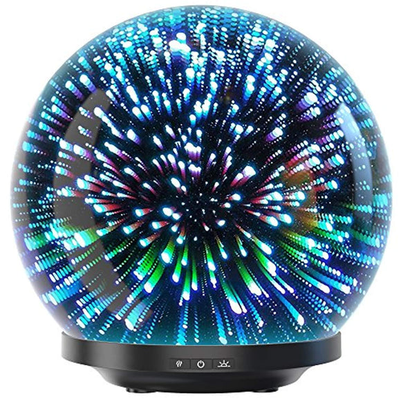 Essential Oil Diffuser - 3D Glass 200ml Galaxy Premium Ultrasonic Aromatherapy Oils Humidifier