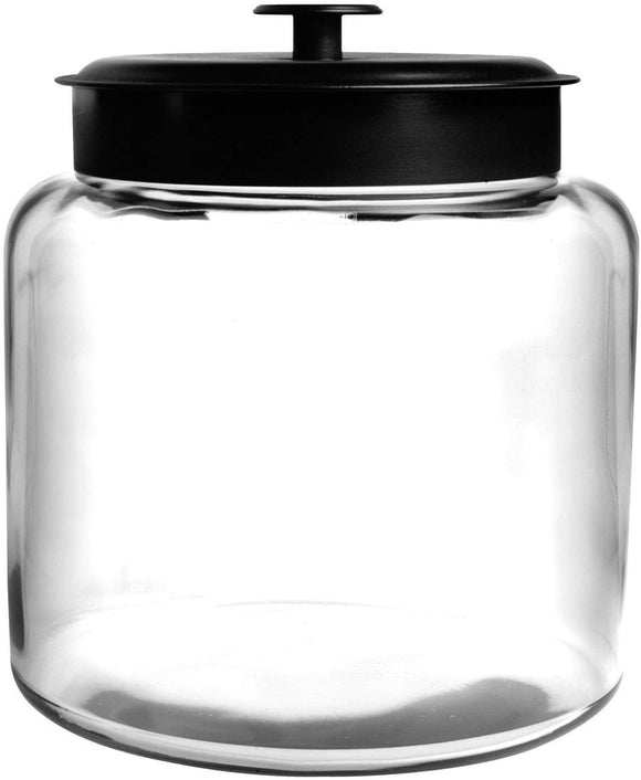 Anchor Hocking Montana Glass Jar with Fresh Sealed Lid, Black Metal