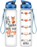 LEADO 32oz 1Liter Motivational Tracking Water Bottle with Time Marker