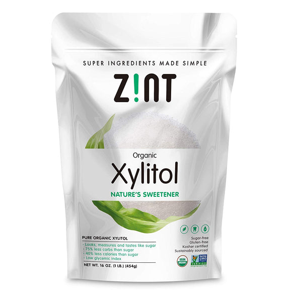 Zint Organic Xylitol Sweetener (16 oz): USDA Certified Natural Sugar Free Substitute, Non GMO, Low Glycemic Index, Measures