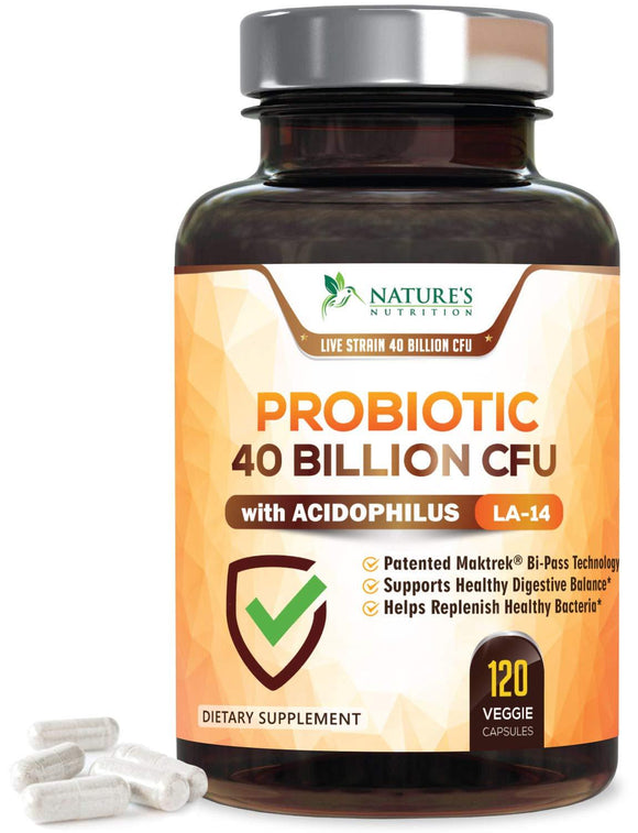 Probiotic Supplement 40 Billion CFU for Digestive Health - Extra Strength Probiotic with Prebiotics & Acidophilus