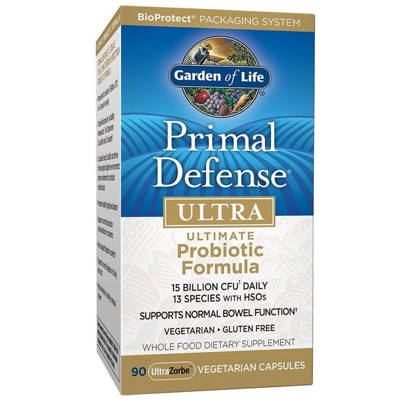 Garden of Life Whole Food Probiotic Supplement - Primal Defense Ultra Ultimate Probiotic for Digestive and Gut Health, 90 Vegetarian Capsules