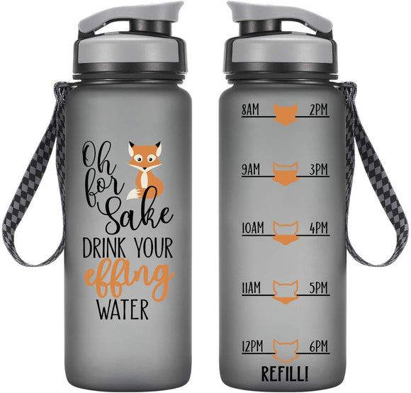 LEADO 24oz Motivational Tracking Water Bottle with Time Marker