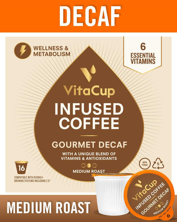 VitaCup Decaf 16ct. Top Rated Coffee Cups Infused With Essential Vitamins B12, B9, B6, B5, B1, and D3,