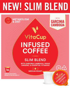 VitaCup Slim Blend Diet|Metabolism Coffee Pods 16ct with Garcinia Cambogia, Panax Ginseng, Paleo|Vegan Friendly, B12, B9, B6, B5, B1