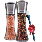 Salt and Pepper Grinder Set of 2 - Stainless Steel Pepper Mill Shaker and Salt Grinders Mills Set with FREE Cleaning Brush