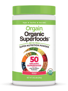 Orgain Organic Green Superfoods Powder, Berry - Antioxidants, 1 Billion Probiotics, Vegan, Dairy Free, Gluten Free, Kosher, Non-GMO, 0.62 Pound